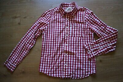 £4.55 • Buy Hollister Mens Size M Medium Red White Checked Shirt Gingham Checked Plaid Long