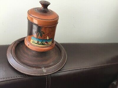 £35 • Buy  Vitae Tobacco Jar And Pipe Tray Wooden Treen Vintage