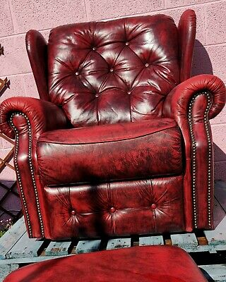 £50 • Buy Oxblood Red Leather Chesterfield Monk Chair Recliner Wing Back