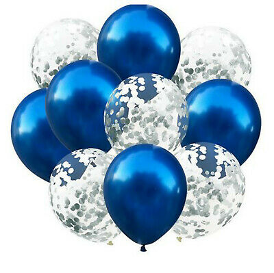 $6.28 • Buy 10 LARGE 300mm BALLOONS BLUE & SILVER CONFETTI FILLED FOR WEDDING BIRTHDAY PARTY