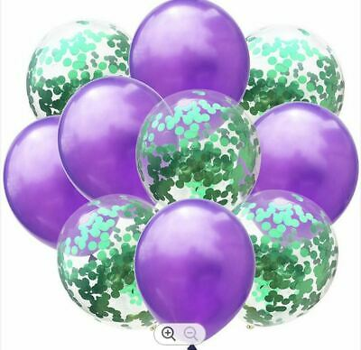 $6.28 • Buy 10 LARGE 300mm BALLOONS PURPLE & GREEN WITH CONFETTI FOR WEDDING BIRTHDAY PARTY