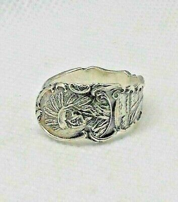 £24.84 • Buy Vintage Baker Manchester Sterling Silver Indian Head Spoon Ring 8