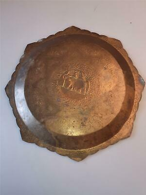 £119.51 • Buy Antique Indian Persian Hand Crafted Brass Plate TRAY ENGRAVING  .
