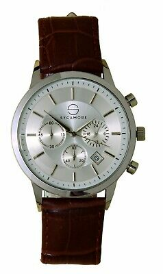£19.99 • Buy SYCAMORE Analogue Watch For Men With Leather Strap,Silver Dial Chronograph
