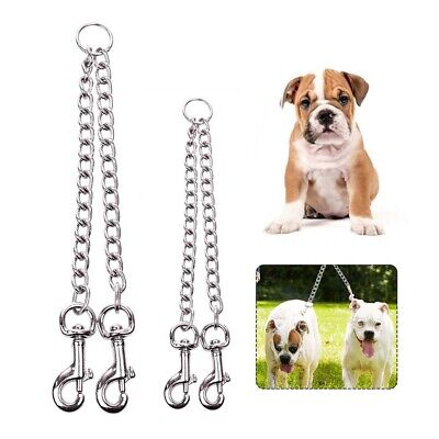AU16.39 • Buy 2 Way 2 Pet Dogs Dog Puppy Coupler  Twin Lead Chain Leash Walking Safety