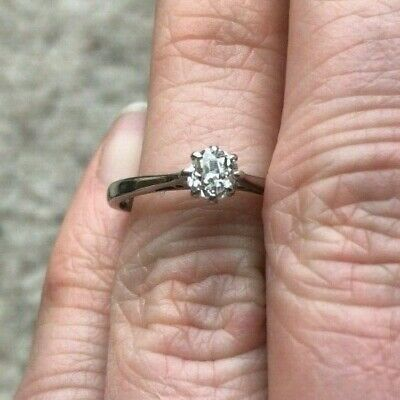£200 • Buy Vintage Art Deco Diamond Engagement Ring - 1930s Solitaire, 18ct White Gold