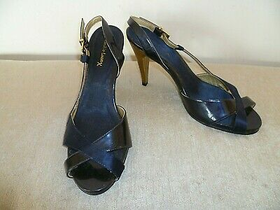 £9.99 • Buy Ladies Emilio Luca Size 8 Navy Blue Leather & Satin Strappy Slingback Shoes