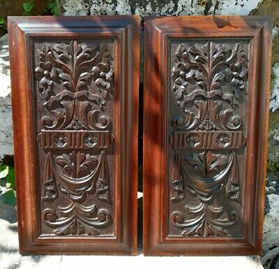 £45 • Buy Nice Antique Carved Mahogany / Wooden 44 X 22.5cm Panels X 2