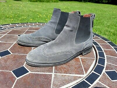 £35 • Buy RUSSELL & BROMLEY Grey Suede Brogue Elastic Panel Chelsea Ankle Boots EU38 UK5
