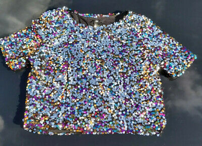 £8 • Buy BNWT H & M Cropped Top Sequins / Sparkly RRP £25 STUNNING! Festival! Party!