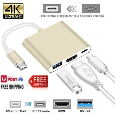 AU12.95 • Buy Type-c To HDMI-compatible 3 In 1 Adapter USB-C 3.1 To 4K HDTV USB 3.0 Type-c Mac