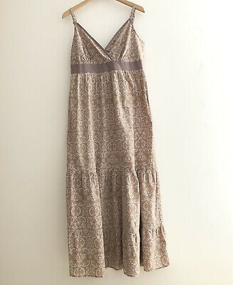 £20 • Buy Vintage BHS 80s/90s Beige Printed Tiered Cami Maxi  Dress * Cottagecore UK 14