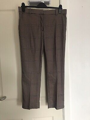 £8 • Buy H&M Checked Brown Dogtooth Cigarette Suit Trousers Size 14