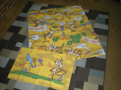 £21.47 • Buy Vntg 1970s Wile E Coyote /Road Runner Twin Flat Sheet & 1 Pillow Case (grt Cond)