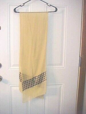 £10.58 • Buy Scarf Brown And Tan Angled Hounds Tooth Print Sheer 68  Long 12  Across Used