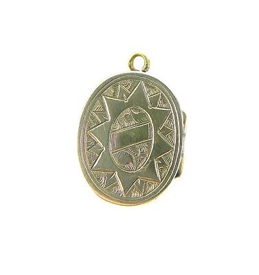 £19.95 • Buy Antique VICTORIAN 9ct Gold Over Silver Oval Double LOCKET PENDANT Opens HAIR A/F