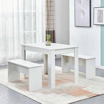 £99.99 • Buy Dining Table + 2 Benches Chair Set Dining Room Home Kitchen Commercial Wooden BN