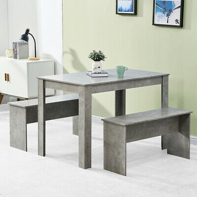 £105.99 • Buy Dining Table + 2 Benches Chair Set Dining Room Home Kitchen Commercial Wooden BN