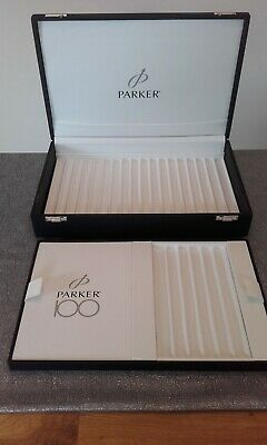 £65 • Buy Parker Pen Black Double Layer Storage Case Hinged With Silver Coloured Clasps