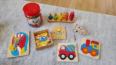 £4.80 • Buy Wooden Toys Bundle - Includes Threading Toys, Puzzles, & Stacking Counters.