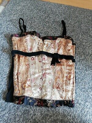 £3 • Buy Oriental Black And Gold Floral Satin, Velvet And Mesh Basque Corset H&M S
