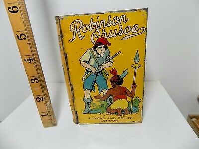 £9.99 • Buy Lyons Toffee Robinson Crusoe Fairytale Book Shaped Advertising Tin C1920s