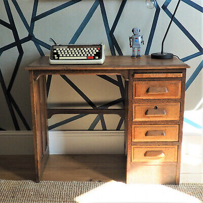 £70 • Buy Vintage Writing Desk Antique Table Home Office School Study Wooden 4 X Drawers
