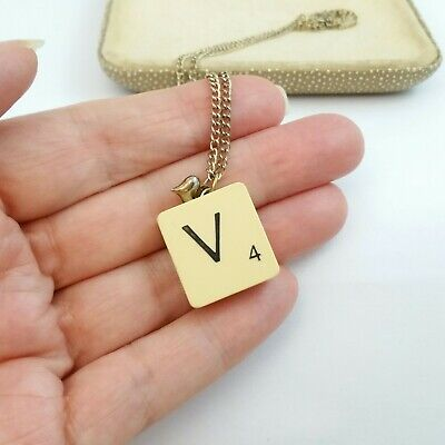 £2.49 • Buy Quirky Vintage Scrabble Letter V Pendent Necklace On Chain