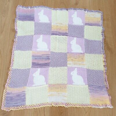 £3.50 • Buy Handmade Knit And Crochet Pastel Purple Square Baby Blanket With Rabbit Pattern