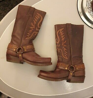 £65 • Buy Fantastic Sancho All Leather Western Biker Harness Boots Size 4
