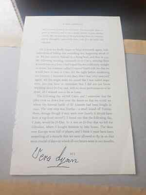 £19.99 • Buy Signed Dame Vera Lynn Book Page Charity Auction Ww2 Forces Sweetheart