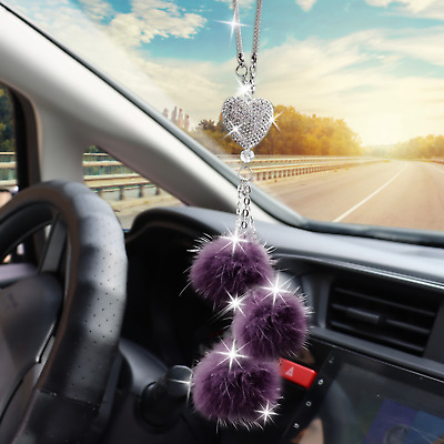 $14.99 • Buy Car Bling Rear View Mirror Hanging Accessories For Women Love Heart Purple Ball