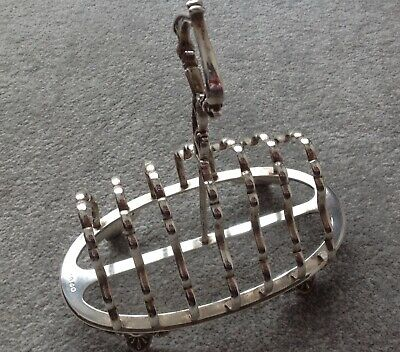 £45 • Buy VINTAGE SILVER PLATED TOAST RACK By H&H TALL HANDLE & CLAW FEET-holds 6 SLICES-