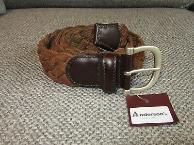 £36 • Buy Andersons Brown Braided Suede Leather Belt New Tags BNWT 90 Fits 34  Waist
