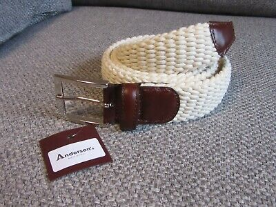 £36 • Buy Andersons Off White Braided Elastic Belt New Tags BNWT 95 Fits 36  Waist