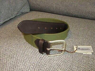 £36 • Buy Andersons Green Canvas Cotton And Leather Belt New Tags BNWT 100 Fits 38  Waist