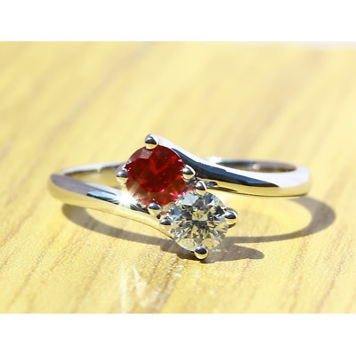 £440 • Buy 2 Stone Round Cut Natural Diamond & Ruby Engagement Ring In 18k White Gold
