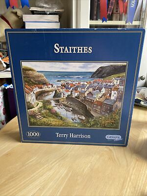 £5 • Buy Gibsons Jigsaw Puzzle 1000 Pieces - Staithes By Terry Harrison - Complete