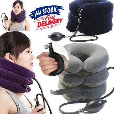 AU15.99 • Buy Air Inflatable Pillow AU Cervical Traction Device Easing Muscle Pain For Neck