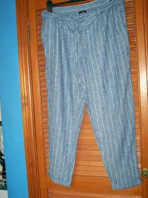 £2.50 • Buy Ladies Linen Style Elasticated Trousers. Blue/white Stripe S16 Next Day Post
