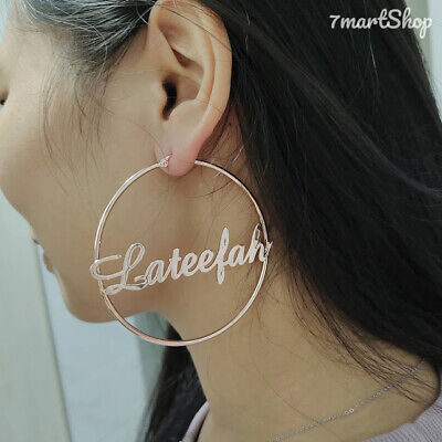 $19.52 • Buy 20mm-100mm Stainless Steel Customize Name Hoop Earring Womens Party Gift