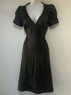 £30 • Buy Juicy Couture Brown Polka Dot Silk Rockabilly Dress V-Neck Short Sleeves Size 2