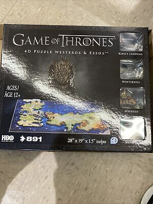 £24.78 • Buy Game Of Thrones Westeros & Essos 28  Map 3D Puzzle By 4D Cityscapes