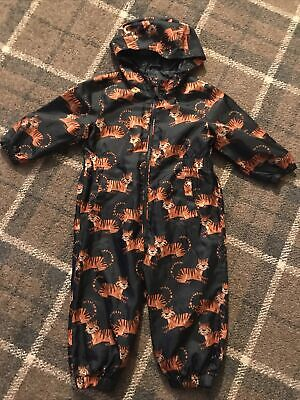 £5 • Buy Boys All In One Puddlesuit Raincoat 1.5-2 Years 18-24 Mths TU Tiger Print