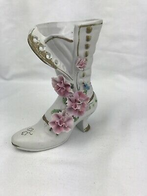 """$ CDN23.14 • Buy Miniature White Bisque Porcelain Pink Carnations Button Boot Figurine  6""""H"""