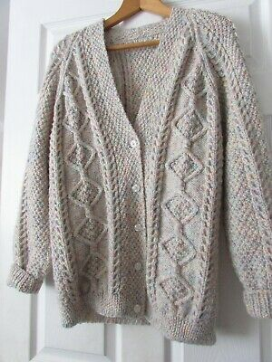 £36 • Buy Handcrafted Aran Knit Ladies Cardigan, Wool Mix, Pastel Colours, Large (40 ) New