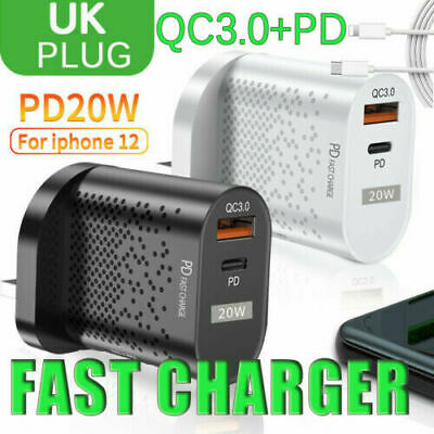 AU8.65 • Buy 20W USB-C Fast Wall Charger PD Port+QC3.0 Power Adapter For IPhone 12 11 UK Plug