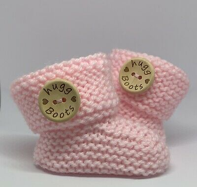 £3.99 • Buy Cute And Cosy Pink Hand Knitted Baby Girl Booties. HUGG BOOTS. 0-3 Months.