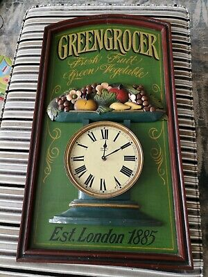 £135 • Buy Vintage French Wooden Advertising Sign Plaque Greengrocer With Clock Food Shop