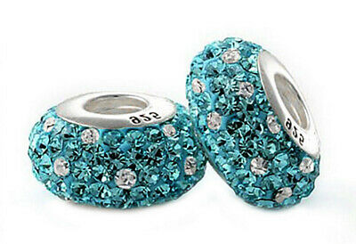 £5.95 • Buy 1 Turquoise & White Crystal Charm Bead 925 Silver Gift For Wife Mum Sister Nan